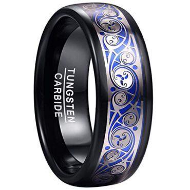 COI Tungsten Carbide Black Blue Silver Dome Court Ring-TG5054