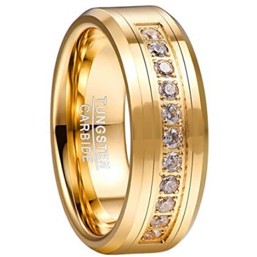 *COI Gold Tone Tungsten Carbide Cubic Zirconia Ring-TG5057