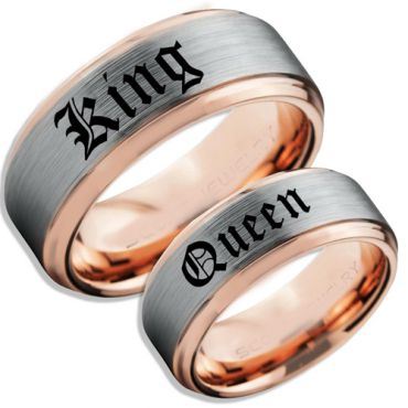 COI Tungsten Carbide Rose Silver King Queen Ring-TG5059
