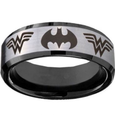 *COI Tungsten Carbide Batman & Wonder Woman Ring-TG5062