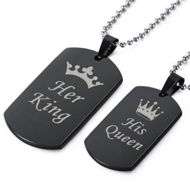 COI Black Tungsten Carbide King Queen Crown Pendant-TG5064