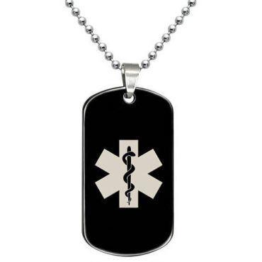 COI Black Tungsten Carbide Medical Alert Pendant-TG5068