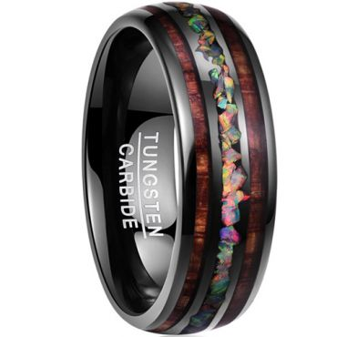 COI Black Tungsten Carbide Wood & Crushed Opal Dome Court Ring-TG5073