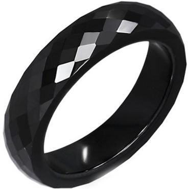 COI Black Tungsten Carbide Faceted Ring-TG5082