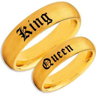 COI Gold Tone Tungsten Carbide King Queen Dome Ring-TG5083