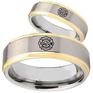 COI Gold Tone Tungsten Carbide FireFighter Step Edge Ring-TG5086