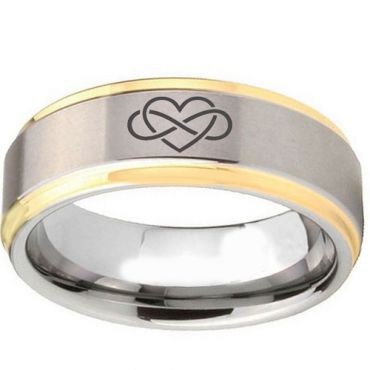 COI Gold Tone Tungsten Carbide Infinity Heart Ring-TG5087