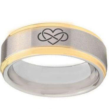 *COI Gold Tone Tungsten Carbide Infinity Heart Ring-TG5087