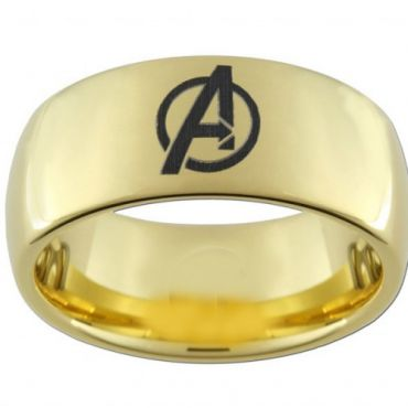 COI Gold Tone Tungsten Carbide Marvel Avengers Dome Ring-TG5088