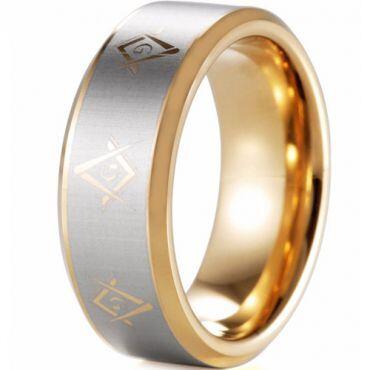 COI Gold Tone Tungsten Carbide Masonic Beveled Edges Ring-TG5089