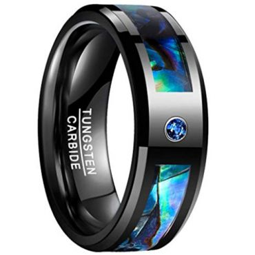 COI Black Tungsten Carbide Abalone Shell Zirconia Ring-TG5097