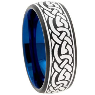 COI Tungsten Carbide Black Blue Celtic Dome Court Ring-TG5101