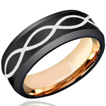 COI Tungsten Carbide Black Rose Infinity Beveled Edges Ring-TG5103