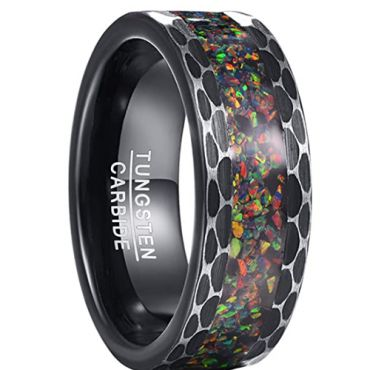 COI Black Tungsten Carbide Crushed Opal Hammered Ring-TG5107