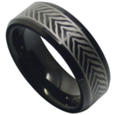 COI Black Tungsten Carbide Celtic Beveled Edges Ring-TG5110