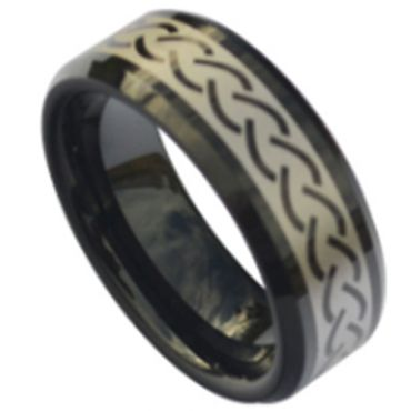 COI Black Tungsten Carbide Celtic Beveled Edges Ring-TG5111