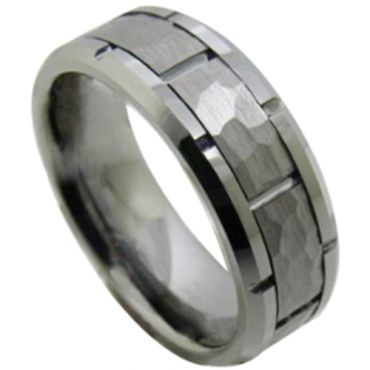 *COI Tungsten Carbide Hammered Tire Tread Brick Pattern Ring-TG5112
