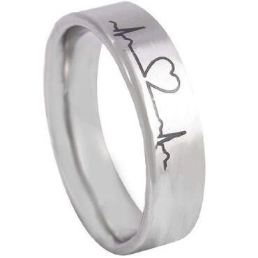 *COI Tungsten Carbide Heartbeat & Heart Pipe Cut Ring-TG5134