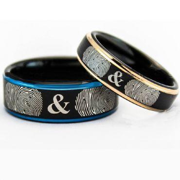 COI Tungsten Carbide Blue/Rose Custom Fingerprint Ring-TG5135