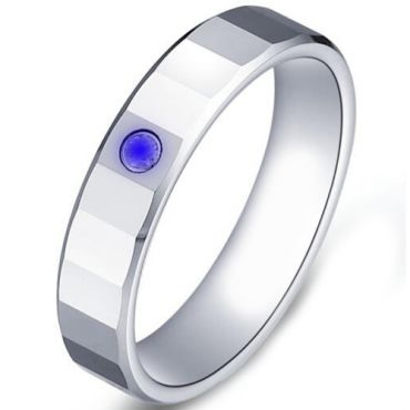 COI Tungsten Carbide Ring With Created Sapphire-TG5176