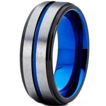 COI Tungsten Carbide Black Blue Center Groove Ring-TG5113