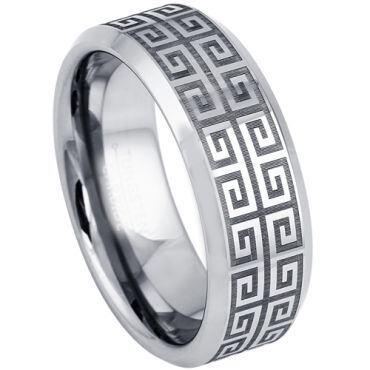 COI Tungsten Carbide Greek Key Beveled Edges Ring-TG5200