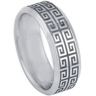 COI Tungsten Carbide Greek Key Beveled Edges Ring-TG5200
