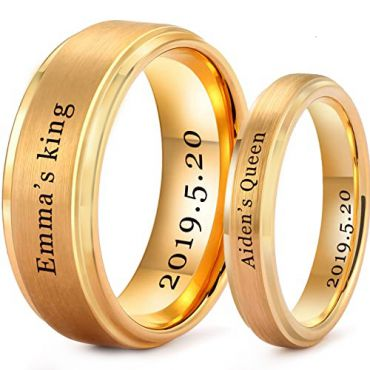 *COI Gold Tone Tungsten Carbide King Queen Ring With Custom Name Engraving-TG5201