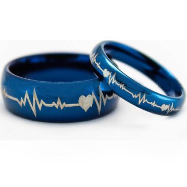 *COI Blue Tungsten Carbide Heartbeat & Heart Ring-TG5203