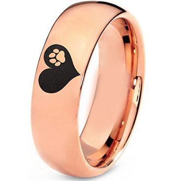 COI Rose Tungsten Carbide Heart Dome Court Ring-TG5204