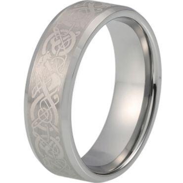 *COI Tungsten Carbide Dragon Beveled Edges Ring-TG5214