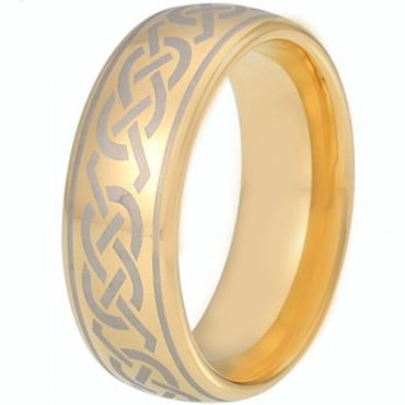 COI Gold Tone Tungsten Carbide Celtic Dome Court Ring-TG5215