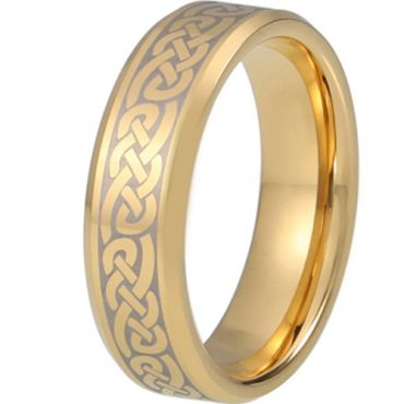 COI Gold Tone Tungsten Carbide Celtic Beveled Edges Ring-TG5217