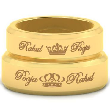 *COI Gold Tone Tungsten Carbide King Queen Crown Ring With Custom Names Engraving-5459