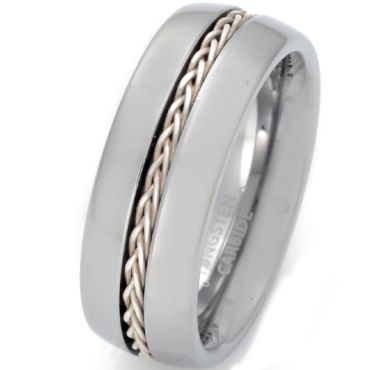 *COI Tungsten Carbide Silver Inlays Pipe Cut Flat Ring With Wire-TG5658