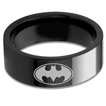 *COI Black Tungsten Carbide Pipe Cut Batman Ring - TG676AAA