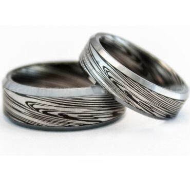 COI Tungsten Carbide Black Silver Damascus Ring-TG729BB