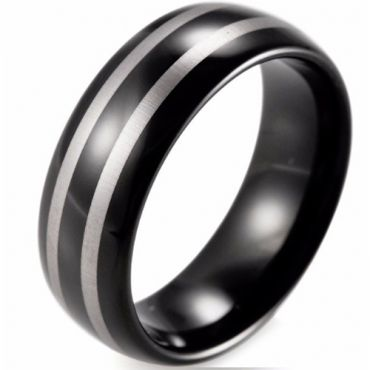 *COI Black Tungsten Carbide Double Lines Dome Court Ring - TG774B