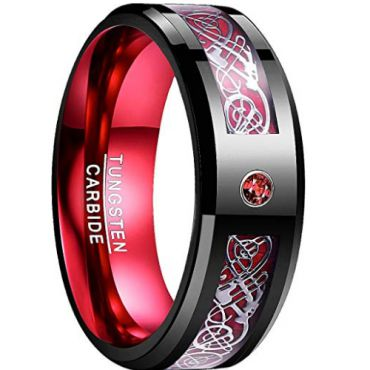 *COI Tungsten Carbide Black Red Dragon Ring With Zirconia-TG783