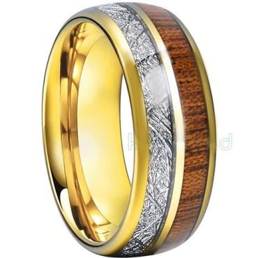 COI Tungsten Carbide Ring With Wood and Meteorite-TG793AA