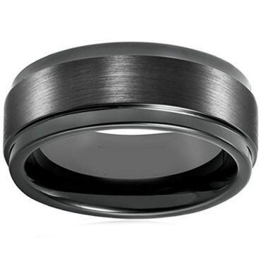*COI Black Tungsten Carbide Step Edges Ring - TG928AA