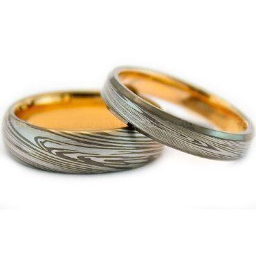 COI Tungsten Carbide Gold Tone Silver Damascus Ring-TG999BB